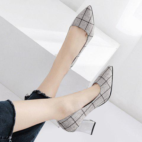 Pointe au pied Chunky Heel Plaid Pumps Gris 39