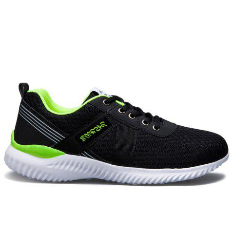 Online Breathable Mesh Lace Up Sneakers - 43 NEON GREEN Mobile