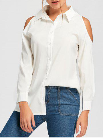 New Button Down Cold Shoulder Tunic Shirt WHITE S
