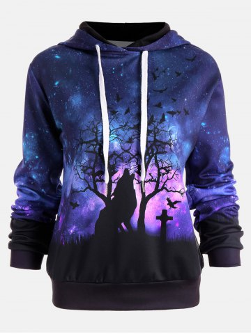 Affordable Halloween Galaxy Wolf Print Drawstring Hoodie - M COLORMIX Mobile