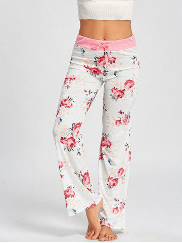 Best Drawstring Waist Floral Pajamas Pants - M WHITE Mobile