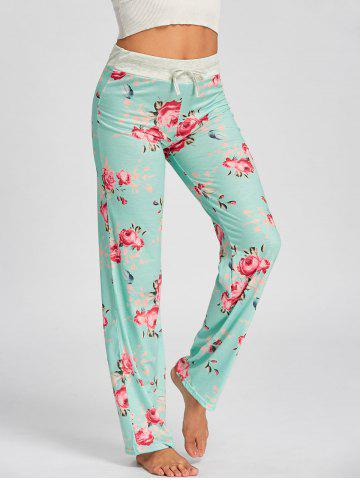 Cheap Drawstring Waist Floral Pajamas Pants - S LIGHT GREEN Mobile