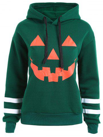 Online Plus Size Flocking Drop Shoulder Halloween Pumpkin Hoodie - GREEN 4XL Mobile