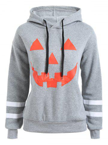 Trendy Plus Size Flocking Drop Shoulder Halloween Pumpkin Hoodie - 4XL GRAY Mobile