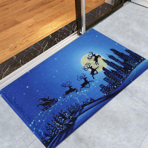 Sale Skidproof Christmas Moonlight City Bath Rug - W16 INCH * L24 INCH BLUE Mobile