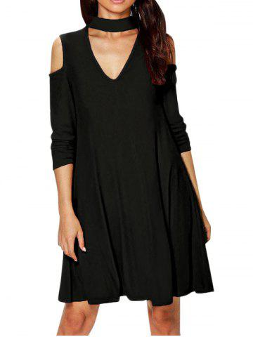 Shop Cold Shoulder Choker Long Sleeve Dress - XL BLACK Mobile