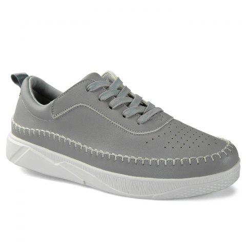 Affordable Whipstitch Faux Leather Low-top Sneakers GRAY 44
