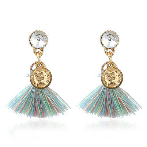 Chic Bohemian Tassel Engraved Coin Earrings - COLORMIX  Mobile
