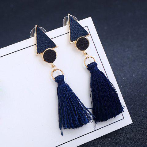 Outfits Antique Round Triangle Tassel Earrings NAVY BLUE