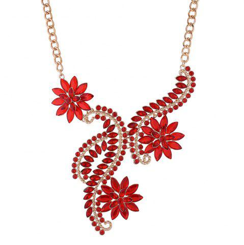 Collier strass Faux Crystal Flower Statement Rouge