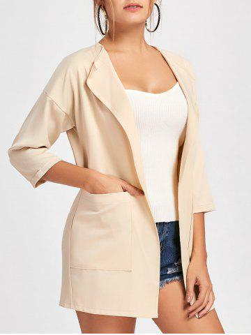 Store Double Pockets Open Front Tunic Coat - XL APRICOT Mobile