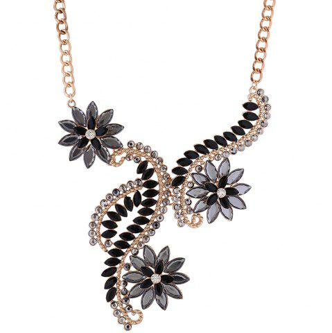 Best Rhinestone Faux Crystal Flower Statement Necklace BLACK