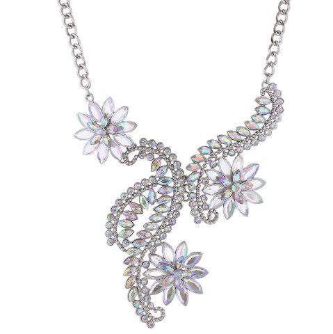 Faux Crystal Rhinestone Flower Statement Necklace