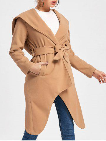 Affordable Hooded High Low Woolen Coat - XL KHAKI Mobile