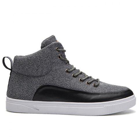 Affordable Faux Leather Panel High Top Sneakers - 43 GRAY Mobile