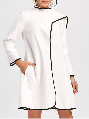 Trendy Striped Trim Woolen Duster Coat - L WHITE Mobile
