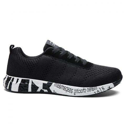 Outfit Mesh Letter Breathable Sneakers BLACK 39