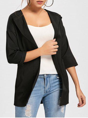 Outfits Double Pockets Open Front Tunic Coat - M BLACK Mobile