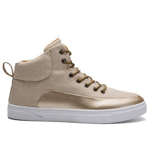 Best Faux Leather Panel High Top Sneakers - 40 GOLDEN Mobile