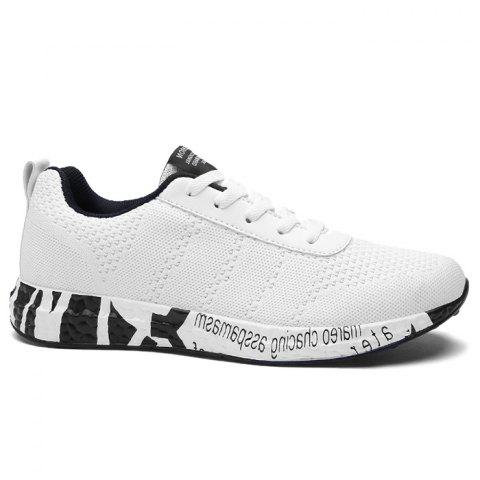 Chic Mesh Letter Breathable Sneakers WHITE 41