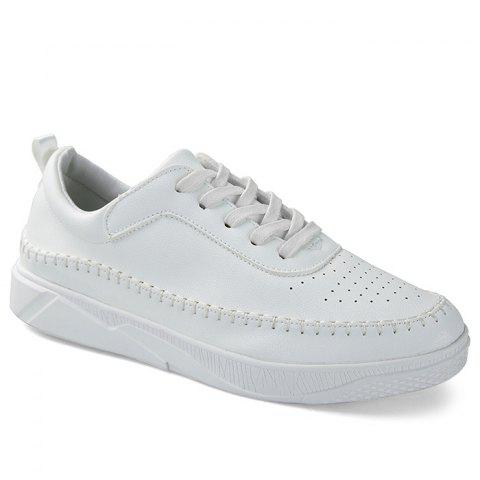 Sale Whipstitch Faux Leather Low-top Sneakers - 40 WHITE Mobile