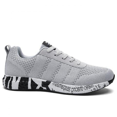 Outfit Mesh Letter Breathable Sneakers GRAY 40