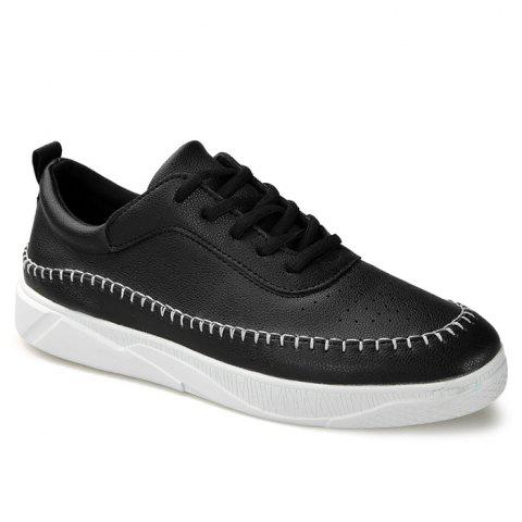 Unique Whipstitch Faux Leather Low-top Sneakers - 43 BLACK Mobile