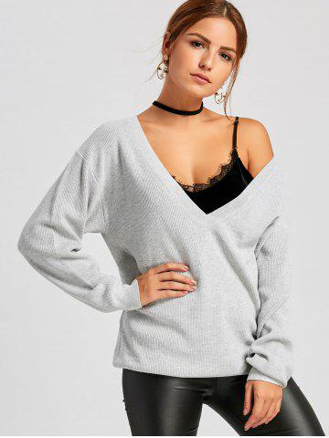 Oversized Plunging Neckline Pullover Sweater
