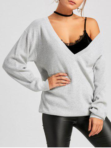 Sale Oversized Plunging Neckline Pullover Sweater