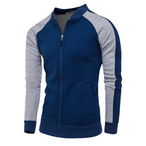 Color Block Raglan Sleeve Zip Up Jacket Bleu Cadette XL