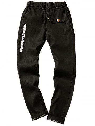 Outfit Graphic Print Drawstring Tapered Jeans BLACK 5XL