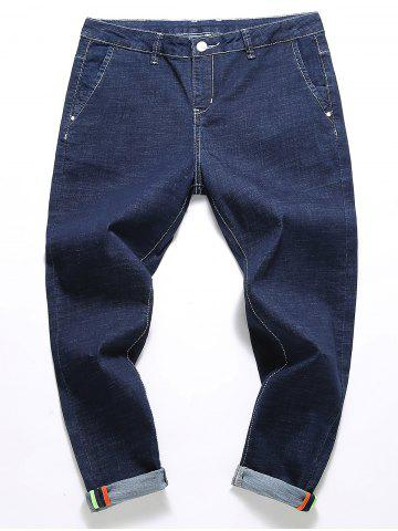 Buy Slim Fit Zipper Fly Straight Leg Jeans - 42 BLUE Mobile