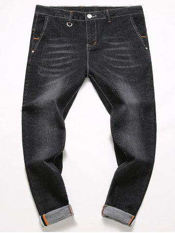 Latest Straight Leg Slim Fit Bleach Wash Jeans - 36 BLACK Mobile