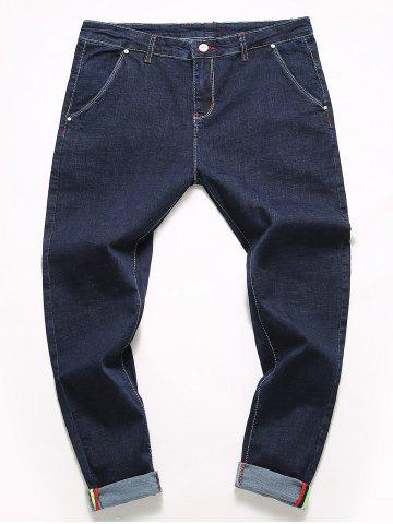 Sale Casual Zipper Fly Straight Leg Jeans BLUE 32