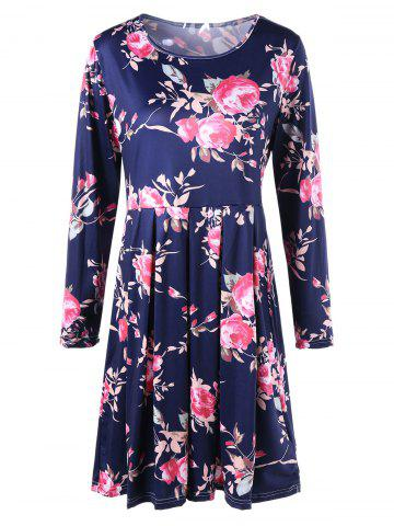 Discount Floral Long Sleeve Fit and Flare Dress BLUE M
