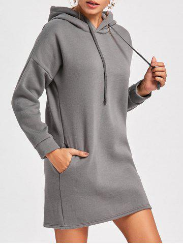 Outfit Drop Shoulder Mini Hoodie Dress - 2XL SMOKY GRAY Mobile