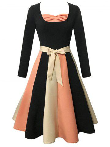 Latest Vintage Long Sleeve Color Block Skater Flare Dress