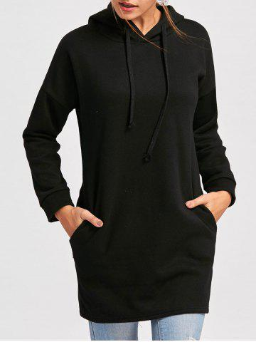 Outfits Drop Shoulder Mini Hoodie Dress BLACK M