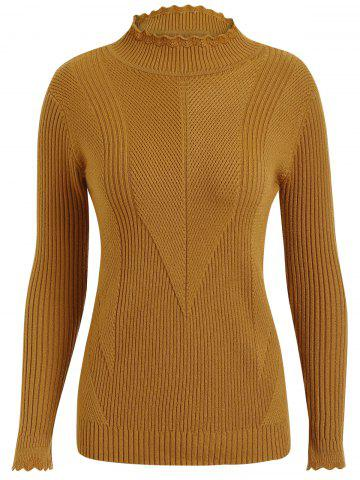 Fancy Plus Size Ribbed High Neck Sweater - 4XL GINGER Mobile