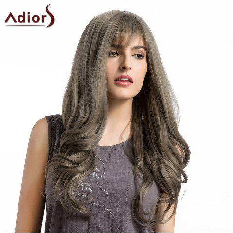 Shops Adiors Long See-Trough Fringe Layered Curly Synthetic Wig GRAY
