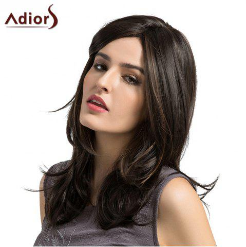 Latest Adiors Medium Side Parting Highlight Layered Slightly Curled Synthetic Wig COLORMIX