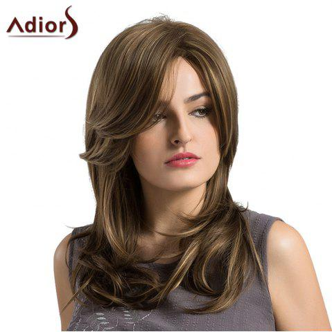 Store Adiors Long Side Parting Highlighted Layered Slightly Curled Synthetic Wig - COLORMIX  Mobile