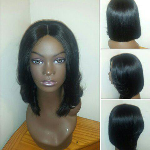 Unique Center Parting Medium Straight Feathered Bob Synthetic Wig BLACK