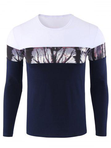 Discount Forest Print Color Block Long Sleeve Tee BLUE 3XL