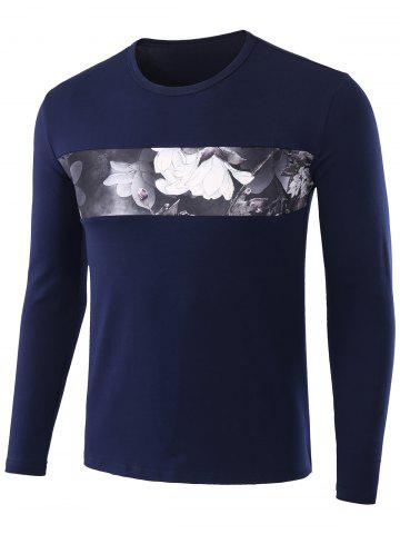 Outfits Floral Print Long Sleeve T-shirt - L BLUE Mobile