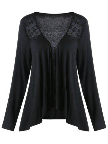 Online Lace Insert Plus Size Drape Cardigan - 5XL BLACK Mobile