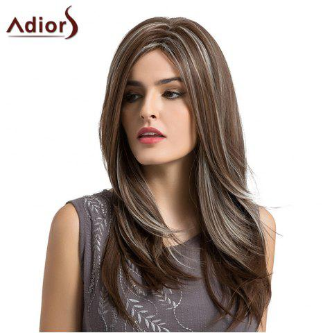 Sale Adiors Long Side Parting Layered Highlight Natural Straight Synthetic Wig - COLORMIX  Mobile