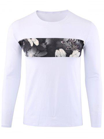 Trendy Floral Print Long Sleeve T-shirt WHITE 3XL