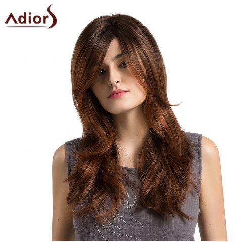 Cheap Adiors Long Side Parting Layered Slightly Curled Ombre Synthetic Wig - BLACK AND BROWN  Mobile