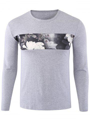 Online Floral Print Long Sleeve T-shirt - 3XL GRAY Mobile